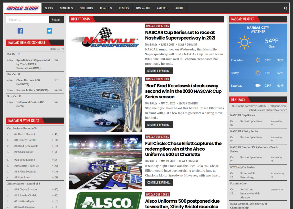 The front page of Infield Scoop